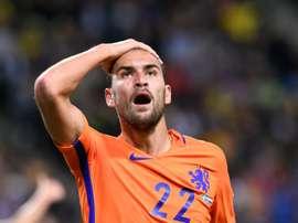 Le milieu Wesley Sneijder auteur du but de légalisation pour les Pays-Bas face à la Suède en qualifications pour le Mondial-2018, le 6 septembre 2016 à Solna en Suède