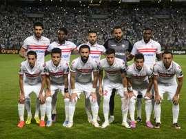 L'équipe de Zamalek, une des équipes cairotes, avant la finale de la CAF au stade Borg el-Arab. AFP