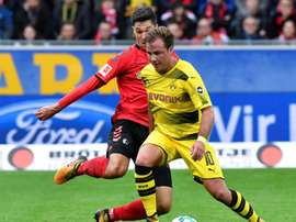 Mario Gotze in action during Dortmund's goalless draw with Freiburg on Saturday. AFP