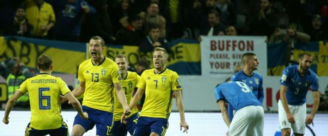 A Suécia venceu na receção à Itália, por 1-0. AFP