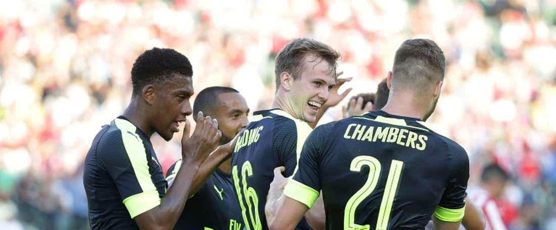 Rob Holding, auteur du 1er but d'Arsenal face aux Mexicains de Chivas Guadalajara en amical. AFP