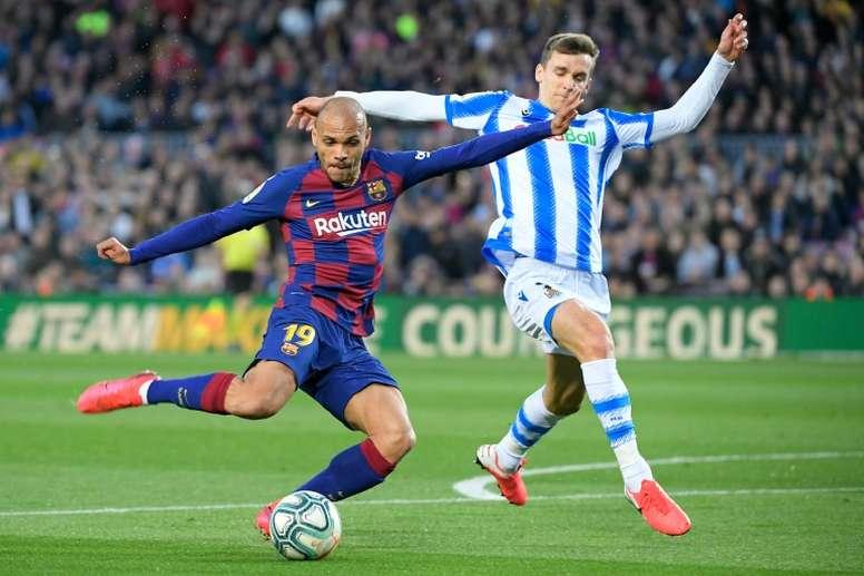 Martin Braithwaite é um dos titulares do Barcelona. AFP
