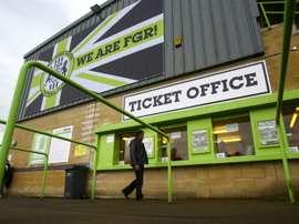 L'entrée du club Forest Green Rovers, dans l'ouest de l'Angleterre, premier club vert. AFP