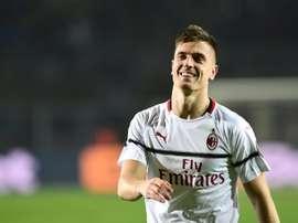 L'attaquant de l'AC Milan Krzysztof Piatek lors du match contre Bergame. AFP