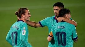 Griezmann, une reconnexion brillante avec Messi et Suarez. AFP