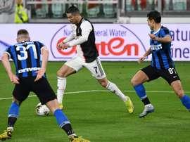 Cristiano Ronaldo, titular da Juventus para enfrentar a Inter de Milão. AFP