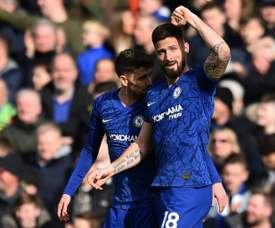 Lampard félicite Giroud pour sa fin de saison. AFP