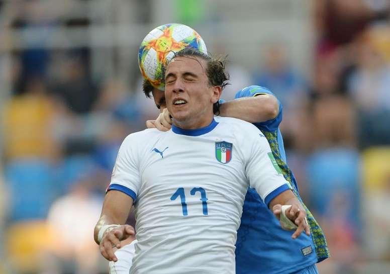 Pellegrini está cedido en el Cagliari por la Juventus. AFP