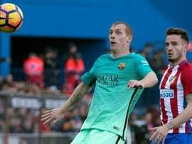 Jérémy Mathieu (FC Barcelone) contre l'Atlético Madrid lors du choc de Liga. AFP