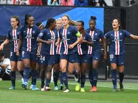 Les joueurs du PSG lors du Trophée des Championnes face à Lyon. AFP