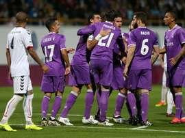 Les joueurs du Real Madrid fêtent un but marqué contre Cultural Leonesa en 16e de finale aller de la Coupe du Roi, le 26 octobre 2016 à Léon