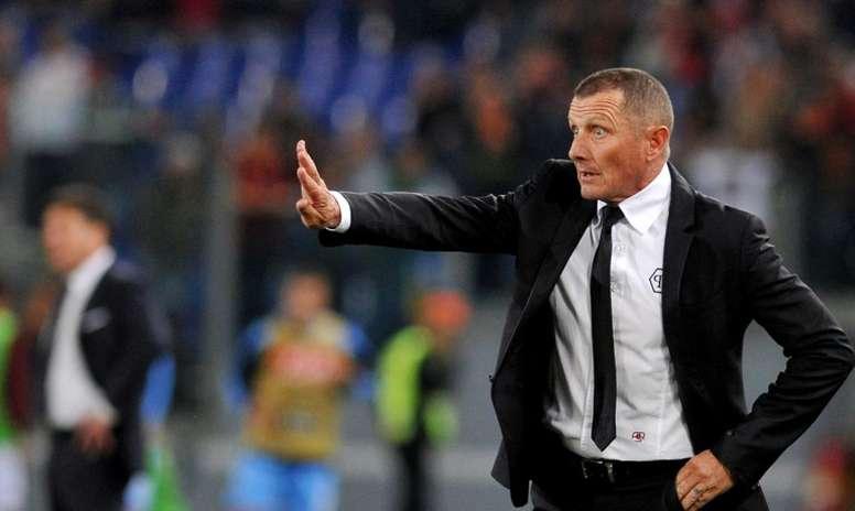 Andreazzoli, alors entraîneur de l'AS Rome, lors dun match de Serie A face à Naples. AFP