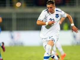 Bernard Berisha avec le Kosovo, lors d'un match de qualifis pour le Mondial face à la Croatie. AFP