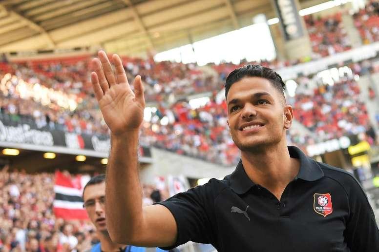 Le nouvel attaquant de Rennes Hatem Ben Arfa lors de sa présentation aux supporteurs. AFP