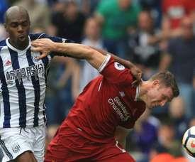 WBA empata partida após estar a perder por 2-0 com o Liverpool. EFE