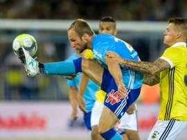 Valère Germain (N.28) lors de la victoire de l'OM contre Fenerbahçe en amical à Lausanne. AFP
