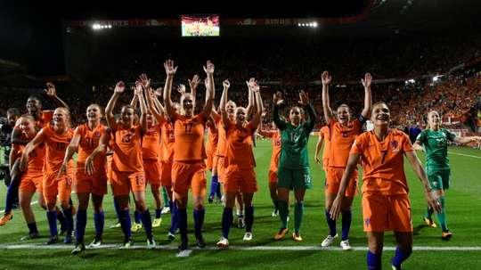 Les Néerlandaises en liesse après leur qualification pour la finale de l'Euro-2017 dames. AFP