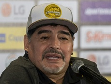 Diego Maradona en conférence de presse. AFP