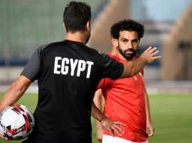 Mohamed Salah lors d'une séance d'entraînement au Caire, le 19/06/2019. AFP