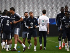 Les joueurs de l'équipe de France à l'entraînement. AFP