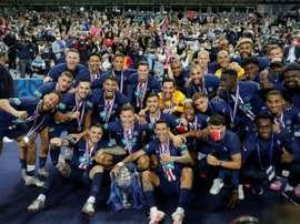 PSG foi campeão da Copa da França em vitória sobre o Saint-Etienne. AFP