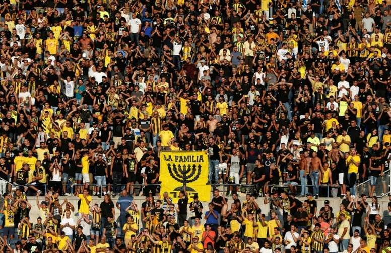 Beitar supporters cheering on their team. AFP
