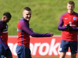L'attaquant de l'équipe d'Angleterre Jamie Vardy lors d'une séance d'entraînement à St George's. AFP