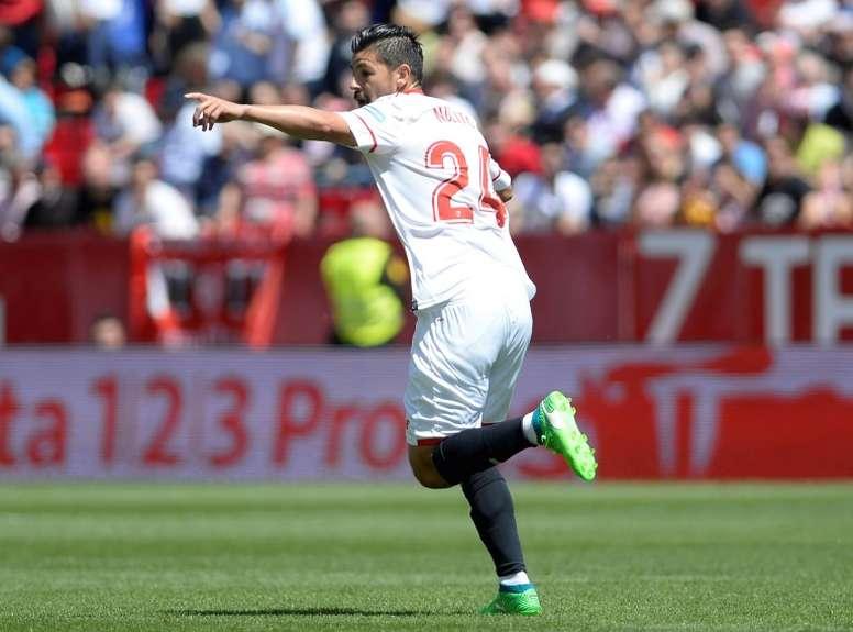 Nolito firmó el único tanto del Sevilla. AFP