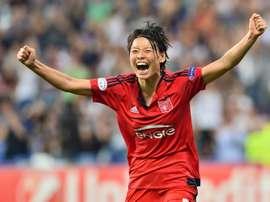 La défenseure japonaise de Lyon Saki Kumagai, lors de la finale de la Ligue des champions à Reggio Emilia, le 26 mai 2016