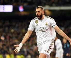 L'attaccante francese del Real Benzema a segno al Bernabeu. AFP
