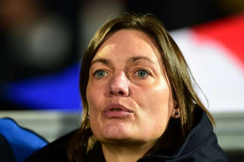 Corinne Diacre lors du match amical contre la Suède. AFP
