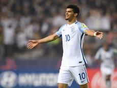 Dominic Solanke, auteur d'un doublé pour l'Angleterre contre l'Italie en demi-finale. AFP