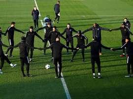 Les joueurs du PSG participent à une séance d'entraînement  à la veille daffronter Ludogorets. AFP