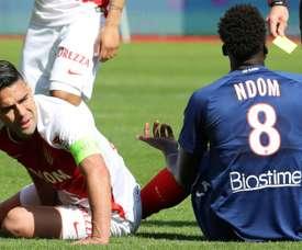 Falcao victime d'une élongation de ladducteur droit durant le match de Ligue 1 face à Caen. AFP