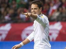 Javier Chicharito Hernandez ouvre la marque pour le Mexique face au Canada lors des éliminatoires pour le Mondial-2018 zone concacaf, le 25 mars 2016 à Vancouver