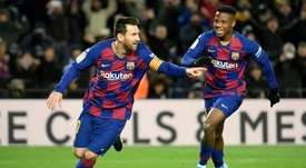 Messi breakthrough goal earns Setién his first win. AFP