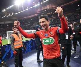 Benjamin André après avoir remporté la finale de la Coupe de France contre le PSG. AFP