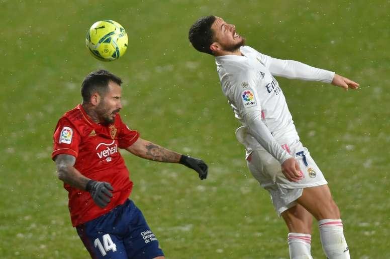 Hazard volvió a decepcionar ante Osasuna. AFP