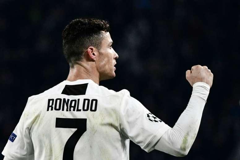 Cristiano Ronaldo, auteur dun triplé lors du 8e de finale retour de la Ligue des champions. AFP