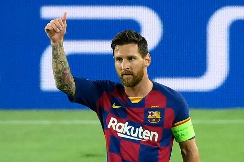 Messi, eufórico após ter conquistado a vaga nas quartas. AFP