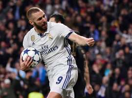 Karim Benzema was the hero in Real's match against Eibar today. AFP