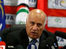 Le président de la fédération palestinienne de football Jibril Rajoub, lors dun point presse, le 12 octobre 2016 à Ramallah