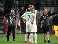 Joueurs irakiens (c) dépités après leur élimination par le Qatar en 8èmes. AFP