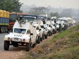 Des casques bleus de l'ONU, le 6 janvier 2017 à lentrée de Bouaké. AFP