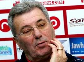 L'ancien sélectionneur de la France Roger Lemerre, lors d'une conférence de presse à Tunis. AFP