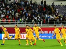 Les Australiens explosent de joie après leur qualification aux tirs au but. AFP