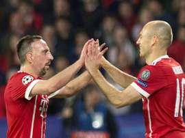 Les joueurs du Bayern Munich Ribéry et Robben. AFP