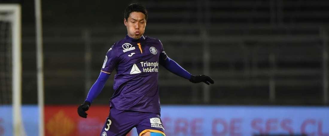 Le défenseur japonais de Toulouse, Gen Shoji, lors du match de Ligue 1 à Nîmes. AFP