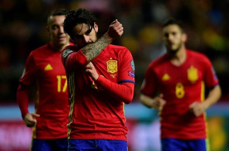 Isco auteur du 4e but de l'Espagne face à Israël. AFP