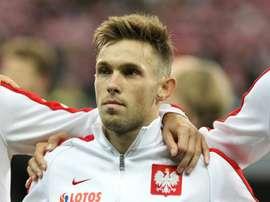 Le latéral gauche polonais Maciej Rybus, avant un match contre l'Allemagne à Francfort. AFP